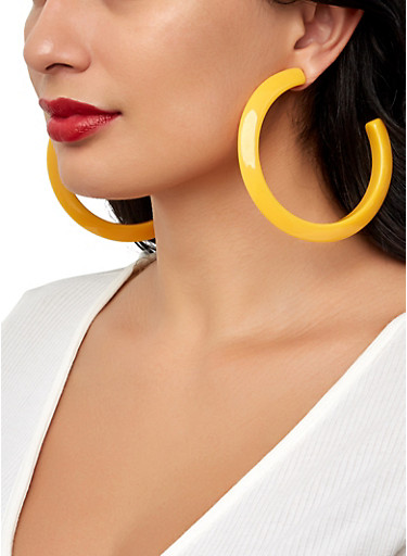 Thick Plastic Hoop Earrings,YELLOW,large