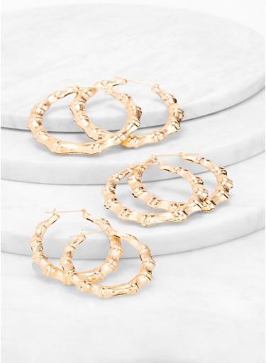 Multi Size Metallic Bamboo Hoop Earring Trio,GOLD,large