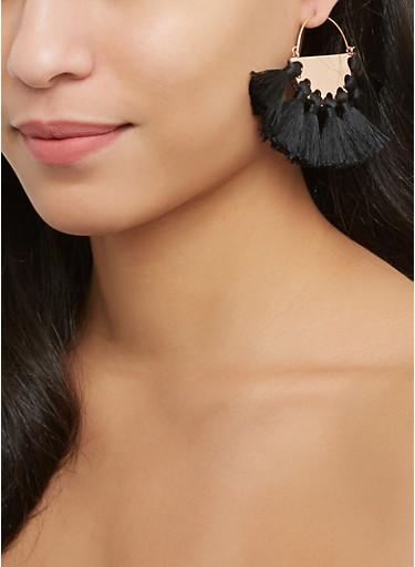 Metallic Tassel Fan Earrings,BLACK,large