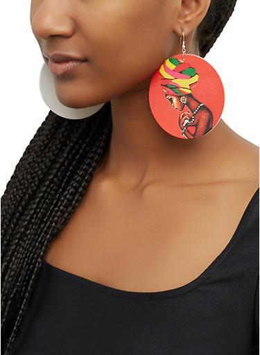 Ethnic Girl Circular Drop Earrings,RED,large