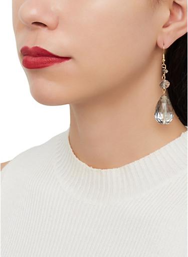 Clear Beaded Drop Earrings,GOLD,large