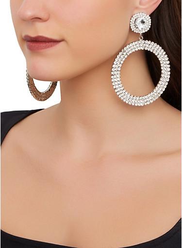 Rhinestone Circular Drop Earrings,SILVER,large