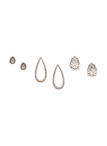 Set of 3 Teardrop Earrings,SILVER,large