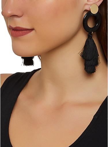 Circle Tassel Drop Earrings,BLACK,large