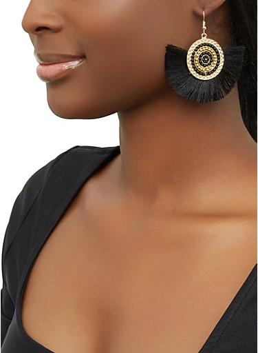 Beaded Disc Fringe Drop Earrings,BLACK,large