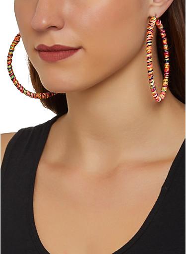 Thread Wrap Hoop Earrings,MULTI COLOR,large
