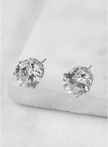 Round 10mm Cubic Zirconia Earrings,SILVER,large