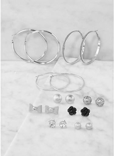 Assorted Glitter Stud and Hoop Earrings Set,BLACK,large