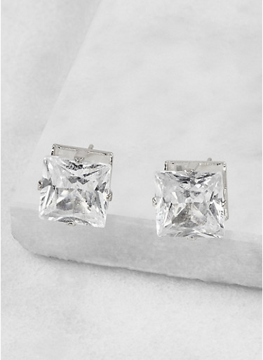Square 10mm Cubic Zirconia Earrings,SILVER,large