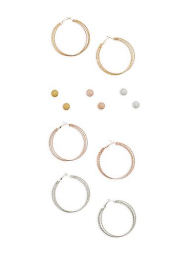 Set of 6 Hoop and Stud Earrings,TRITONE (SLVR/GLD/HEMAT),large