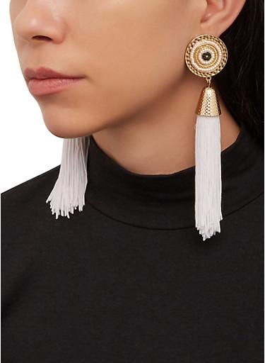 Disc Beaded Tassel Earrings,IVORY,large
