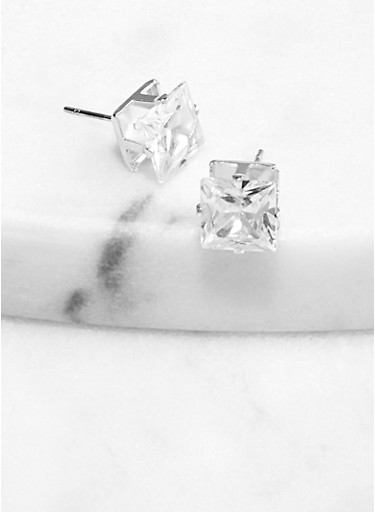 8 mm Square Cubic Zirconia Stud Earrings,SILVER,large