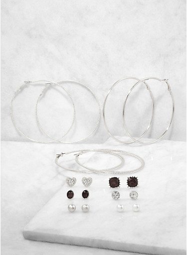 Assorted Faux Pearl Stud and Hoop Earrings Set,SILVER,large