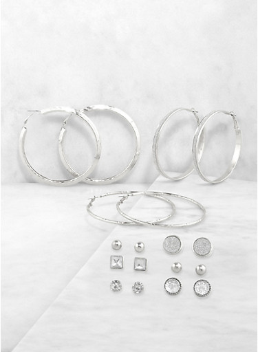 Set of 9 Glitter Hoop and Stud Earrings,SILVER,large