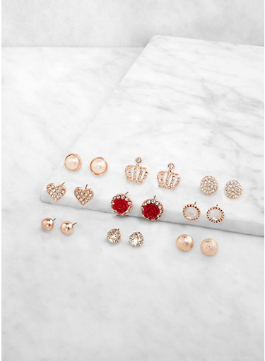 Assorted Rhinestone Stud Earrings Set,ROSE,large