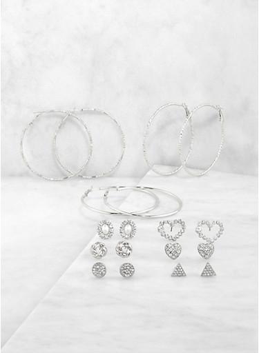 Assorted Rhinestone Heart Stud and Hoop Earrings Set,SILVER,large
