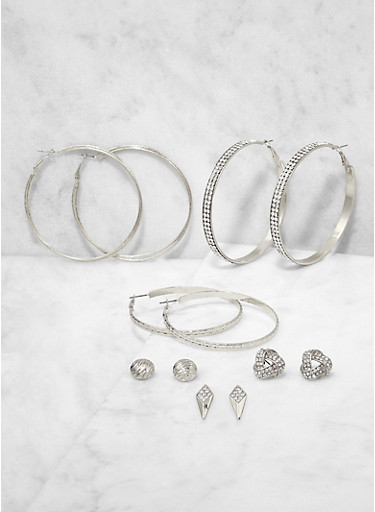 Set of 6 Rhinestone Hoop and Stud Earrings,SILVER,large