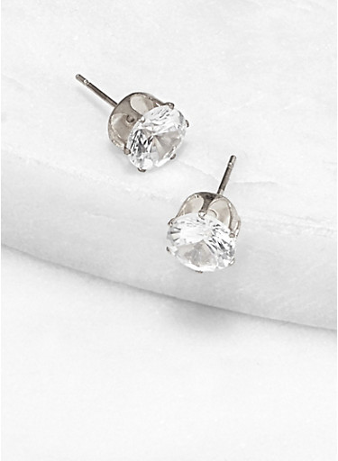 Cubic Zirconia Round Stud Earrings | 8 MM,SILVER,large