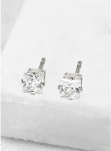 Square 4mm Cubic Zirconia Earrings,SILVER,large