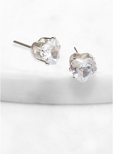 Heart 9 mm Cubic Zirconia Stud Earrings,SILVER,large