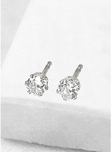 Round 4mm Cubic Zirconia Earrings,SILVER,large