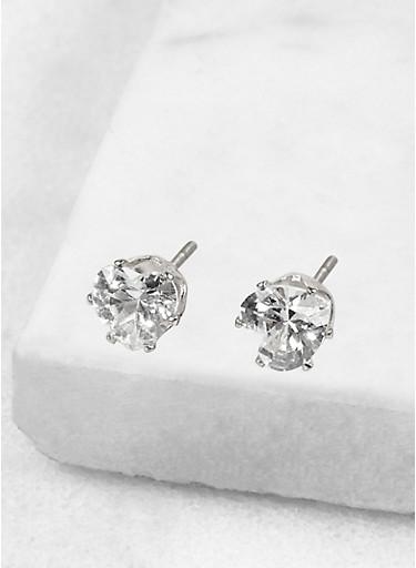 Heart 6mm Cubic Zirconia Earrings,SILVER,large