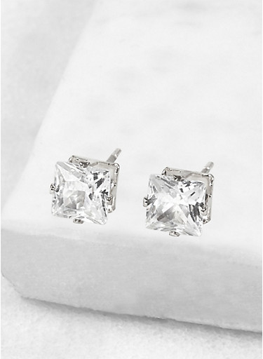 Square 6mm Cubic Zirconia Earrings,SILVER,large