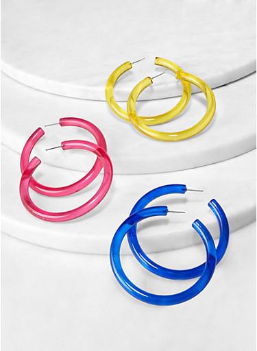 Solid Plastic Hoop Earring Trio,MULTI COLOR,large