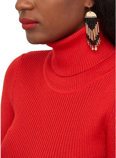 Beaded Stick Fringe Earrings,BLACK,large