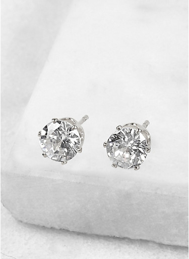Round 6mm Cubic Zirconia Earrings,SILVER,large