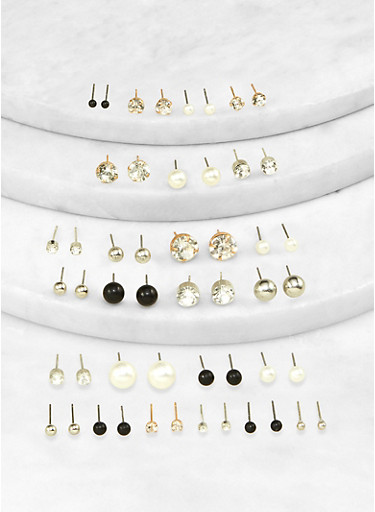 Assorted Faux Pearl Rhinestone Stud Earrings Set,IVORY,large