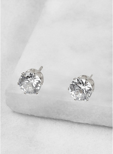 Round 8mm Cubic Zirconia Earrings,SILVER,large