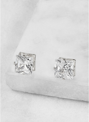 Square 8mm Cubic Zirconia Earrings,SILVER,large