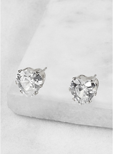 Heart 9mm Cubic Zirconia Earrings,SILVER,large