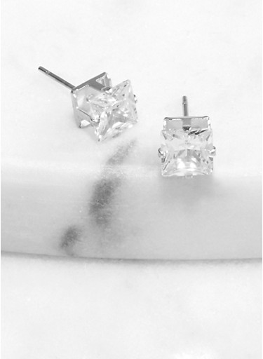 Square 6 mm Cubic Zirconia Stud Earrings,SILVER,large