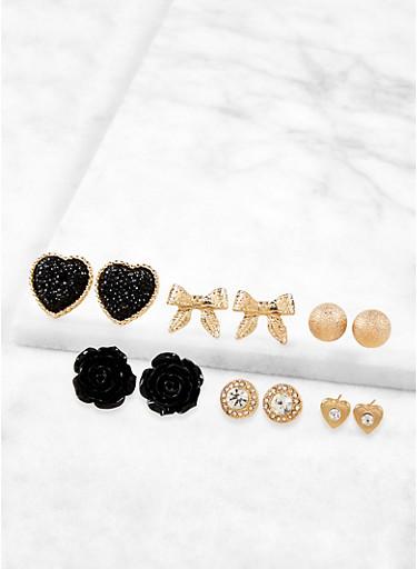 Set of 6 Stud Earrings,BLACK,large