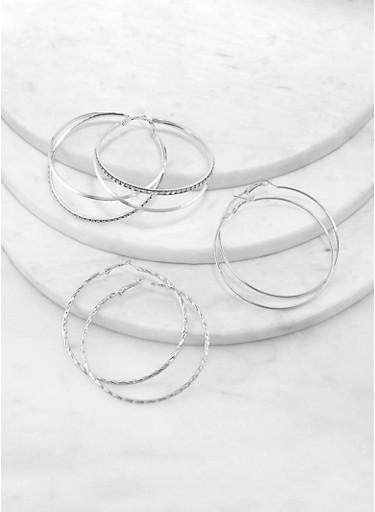 Metallic Rhinestone Hoop Earring Trio,SILVER,large