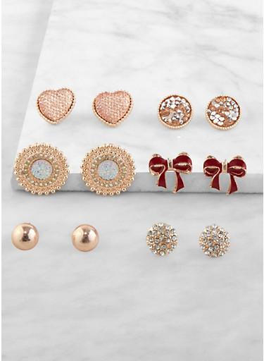 Set of 6 Assorted Stud Earrings,ROSE,large