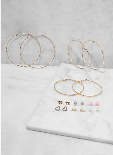 Set of 9 Metallic Hoop and Heart Stud Earrings,GOLD,large