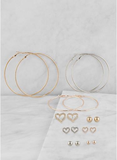 Tri Tone Hoop and Stud Earrings Set,TRITONE (SLVR/GLD/HEMAT),large