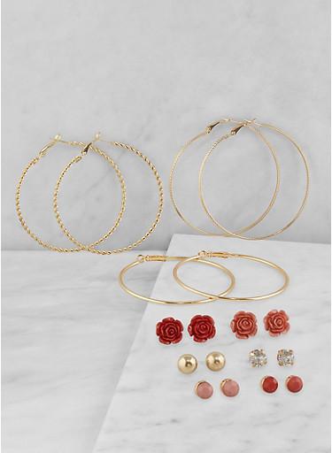 Set of 9 Hoop and Stud Earrings,TRITONE (SLVR/GLD/HEMAT),large