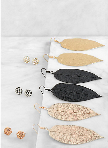 Metallic Leaf Drop and Stud Earrings Set,TRITONE (SLVR/GLD/HEMAT),large
