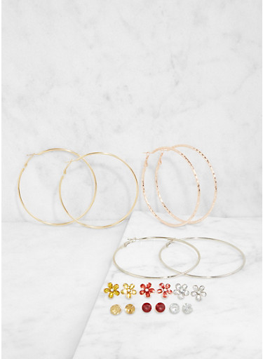Tri Tone Hoop and Stud Earrings Set,TRITONE (SLVR/GLD/HEMAT),large