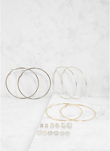 Set of 9 Assorted Stud and Hoop Earrings,TRITONE (SLVR/GLD/HEMAT),large