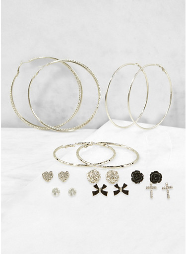 Metallic Rhinestone Stud and Hoop Earrings Set,BLACK,large