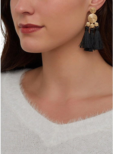 Metallic Double Tassel Drop Earrings,BLACK,large