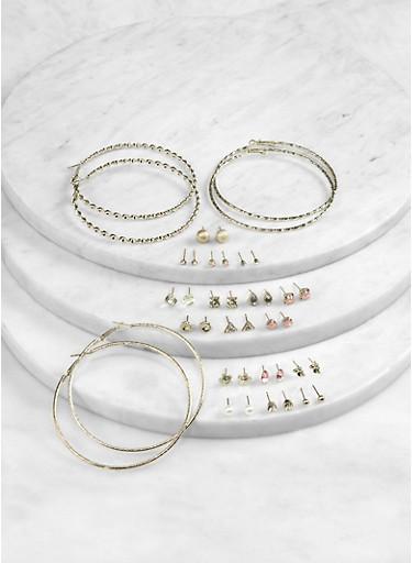 Metallic Studs and Hoop Earrings Set,SILVER,large