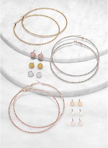 Multi Hoop and Stud Earrings,TRITONE (SLVR/GLD/HEMAT),large