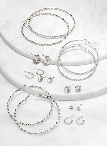 9 Variegated Rhinestone Stud and Hoop Earrings Set,SILVER,large