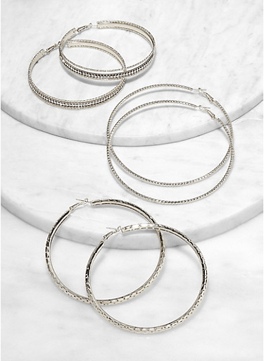 Textured Jumbo Hoop Earrings,SILVER,large